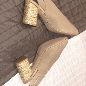 Sbicca Shoes - BEIGE SUEDE LEATHER ESPADRILLE SLINGBACK Heels